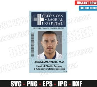 Jackson Avery Sloan Memorial Hospital ID Badge (SVG dxf png) Costume Name Tag Cut File Silhouette Cricut Vector Clipart - Don Vito Design Store