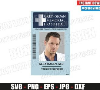 Alex Karev Sloan Memorial Hospital ID Badge (SVG dxf png) Costume Name Tag Cut File Silhouette Cricut Vector Clipart - Don Vito Design Store