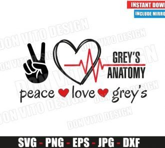 Peace Love Greys Anatomy (SVG dxf png) Hand Heartbeat TV Show Logo Cut File Cricut Silhouette Vector Clipart - Don Vito Design Store