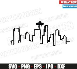 Seattle Skyline Greys Anatomy Logo (SVG dxf png) TV Show City Cut File Silhouette Cricut Vector Clipart