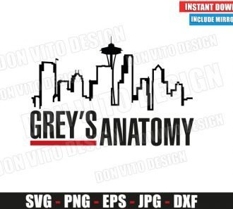Greys Anatomy Seattle Skyline (SVG dxf png) TV Show Logo City Cut File Silhouette Cricut Vector Clipart - Don Vito Design Store