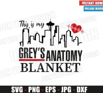 Greys Anatomy Seattle Skyline Blanket (SVG dxf png) TV Show Logo Heartbeat Cut File Silhouette Cricut Vector Clipart - Don Vito Design Store