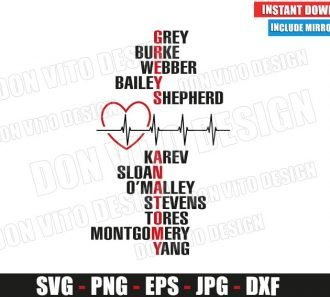 Greys Anatomy Names (SVG dxf png) Burke Yang TV Show Logo Heartbeat Cut File Silhouette Cricut Vector Clipart - Don Vito Design Store