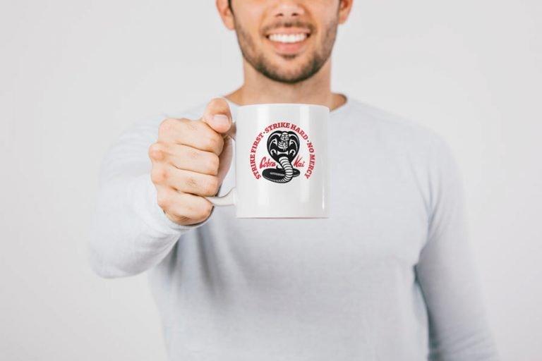 Mug Example - Cobra Kai Dojo Logo No Mercy (SVG dxf png) Strike First Strike Hard Karate Kid Cut File Cricut Silhouette Vector Clipart