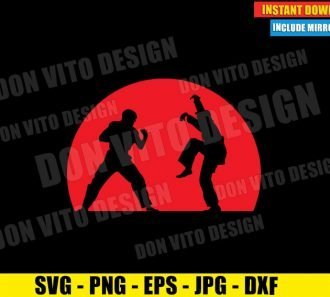 The Crane Kick Karate Kid Fight (SVG dxf png) Daniel Larusso vs Johnny Lawrence Cut File Cricut Silhouette Vector Clipart - Don Vito Design Store