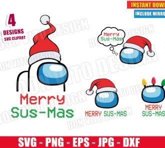 Merry Sus Mas Among Us Bundle (SVG dxf png) Santa Hat Impostor or Crewmate Cut File Silhouette Cricut Vector Clipart - Don Vito Design Store