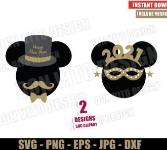 Mickey Minnie Mouse New Year 2021 (SVG dxf png) Disney Happy New Year Party Cut File Silhouette Cricut Vector Clipart - Don Vito Design Store