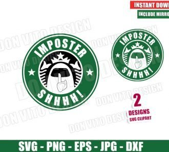 Among Us Starbucks Logo Imposter Shhh (SVG dxf png) Game Crewmate Label Cut File Silhouette Cricut Vector Clipart - Don Vito Design Store