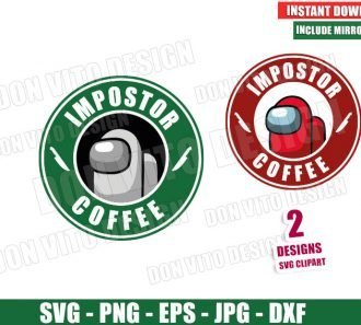 Among Us Starbucks Logo Impostor Coffee (SVG dxf png) Game Crewmate Label Cut File Silhouette Cricut Vector Clipart - Don Vito Design Store
