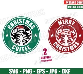 Merry Christmas Coffee Starbucks Logo (SVG dxf png) Holiday Label Santa Hat Cut File Silhouette Cricut Vector Clipart - Don Vito Design Store