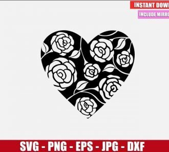 Heart with Roses SVG Free Cut File for Cricut and Silhouette Freebie Flowers Clipart Vector PNG Image Download Free SVG Design