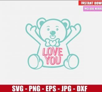 Teddy Bear SVG Free Cut File for Cricut and Silhouette Freebie Love You Clipart Vector PNG Image Download Free SVG Design