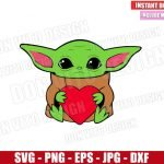 Baby Yoda hug Heart (SVG dxf png) Star Wars Valentine's Day Love Cut File Cricut Silhouette Vector Clipart Design Valentine svg