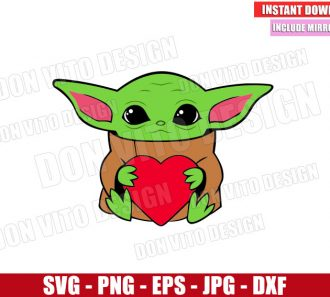 Baby Yoda hug Heart (SVG dxf png) Star Wars Valentine's Day Love Cut File Cricut Silhouette Vector Clipart - Don Vito Design Store