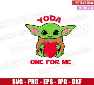 Baby Yoda One for Me (SVG dxf png) Star Wars Heart Valentine's Day Cut File Cricut Silhouette Vector Clipart - Don Vito Design Store
