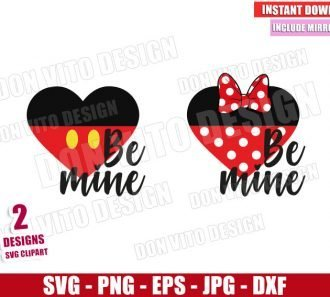 Be Mine Mickey Minnie Heart (SVG dxf png) Disney Mouse Love Cut File Cricut Silhouette Vector Clipart - Don Vito Design Store