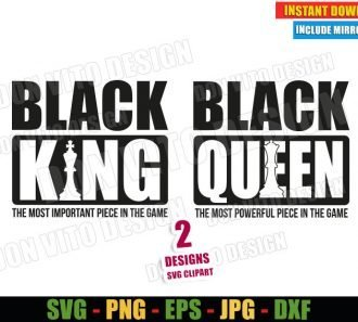 Black King Queen (SVG dxf png) The Most Powerful Piece in the Game Cut File Cricut Silhouette Vector Clipart - Don Vito Design Store