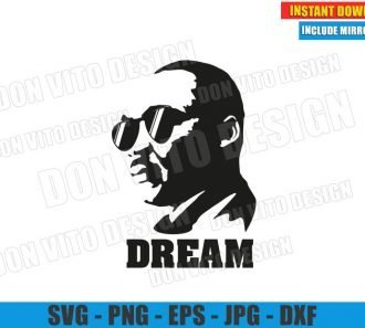 Martin Luther King with Sunglasses (SVG dxf png) MLK DREAM Quote Cut File Cricut Silhouette Vector Clipart - Don Vito Design Store