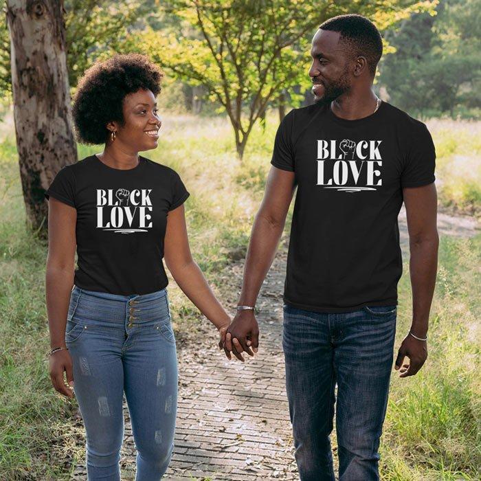 T-Shirt Example - Fist Black Love (SVG dxf png) Couple Black Love Matters Cut File Cricut Silhouette Vector Clipart