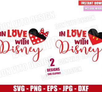 In Love with Disney (SVG dxf png) Mickey and Minnie Mouse Heart Bow Ears Cut File Cricut Silhouette Vector Clipart - Don Vito Design Store