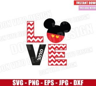 Chevron Love Mickey Mouse (SVG dxf png) Disney Xoxo Head Cut File Cricut Silhouette Vector Clipart - Don Vito Design Store