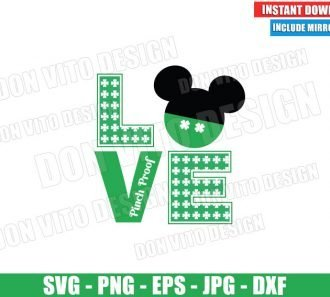 Mickey Mouse Shamrock Love (SVG dxf png) Disney Pinch Proof Irish Cut File Cricut Silhouette Vector Clipart - Don Vito Design Store