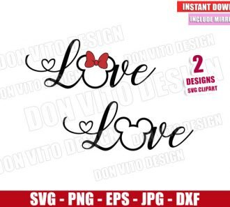 Mickey and Minnie Ears Love (SVG dxf png) Disney Valentine's Day Cut File Cricut Silhouette Vector Clipart - Don Vito Design Store