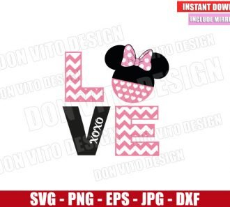 Chevron Love Minnie Mouse (SVG dxf png) Disney Xoxo Head Cut File Cricut Silhouette Vector Clipart - Don Vito Design Store