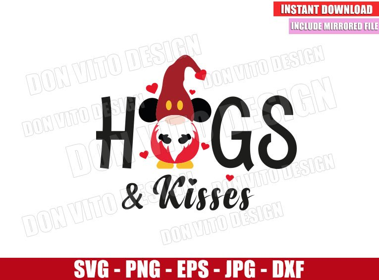 Gnome Hugs and Kisses (SVG dxf png) Mickey Mouse Disney Love Cut File Cricut Silhouette Vector Clipart - Don Vito Design Store