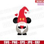 Mickey Gnome with Heart (SVG dxf png) Disney Mouse Love Valentine's Day Cut File Cricut Silhouette Vector Clipart Design Valentine svg