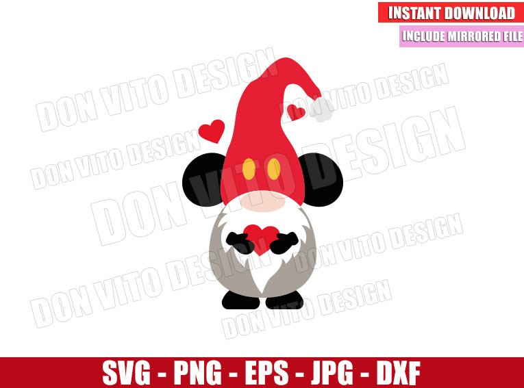 Mickey Gnome with Heart (SVG dxf png) Disney Mouse Love Valentine's Day Cut File Cricut Silhouette Vector Clipart - Don Vito Design Store