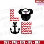 Love Cruise Mickey Mouse (SVG dxf png) Disney Sailor Head Anchor Chevron Cut File Cricut Silhouette Vector Clipart Design Valentine svg
