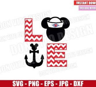 Love Cruise Mickey Mouse (SVG dxf png) Disney Sailor Head Anchor Chevron Cut File Cricut Silhouette Vector Clipart - Don Vito Design Store
