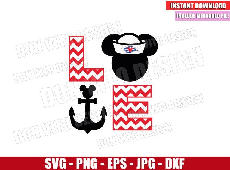 Love Cruise Mickey Mouse (SVG dxf png) Disney Sailor Head Anchor Chevron Cut File Cricut Silhouette Vector Clipart - Don Vito Design Store