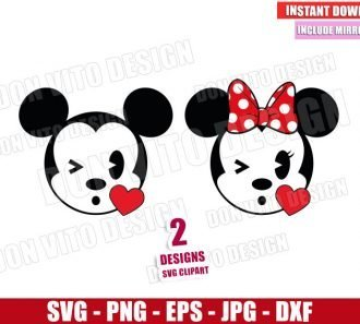 Mickey and Minnie Blowing a Kiss (SVG dxf png) Disney Emoji Mouse Cut File Cricut Silhouette Vector Clipart - Don Vito Design Store
