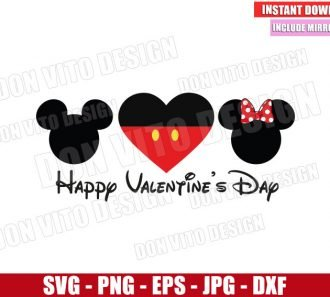 Disney Happy Valentine's Day (SVG dxf png) Mickey and Minnie Mouse Cut File Cricut Silhouette Vector Clipart - Don Vito Design Store