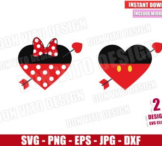 Valentine Hearts Mouse Ears (SVG dxf png) Mickey Minnie Arrow Love Cut File Cricut Silhouette Vector Clipart - Don Vito Design Store