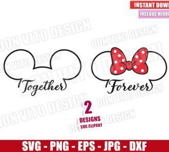 Disney Together Forever (SVG dxf png) Mickey and Minnie Mouse Love Cut File Cricut Silhouette Vector Clipart - Don Vito Design Store