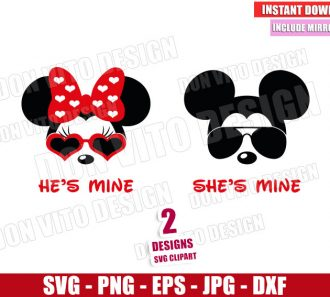 Disney He is Mine She is Mine (SVG dxf png) Mickey Minnie Mouse Sunglasses Cut File Cricut Silhouette Vector Clipart - Don Vito Design Store