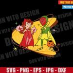 Scarlet Witch and The Vision Halloween (SVG dxf png) Disney Tv Show 50s Cut File Cricut Silhouette Vector Clipart Design WandaVision svg