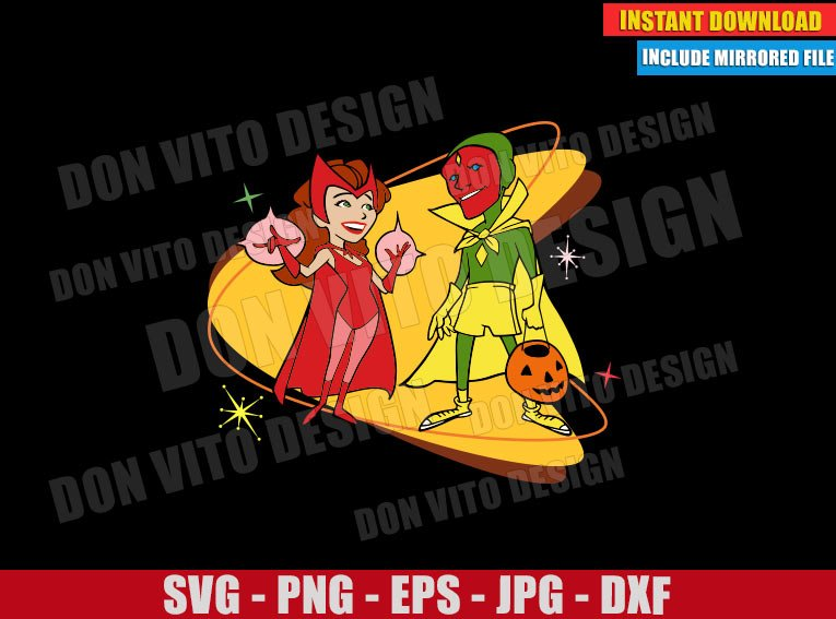 Scarlet Witch and The Vision Halloween (SVG dxf png) Disney Tv Show 50s Cut File Cricut Silhouette Vector Clipart - Don Vito Design Store