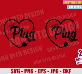 The Couple Who Plug (SVG dxf png) Love Heart His and Hers Romantic Cut File Cricut Silhouette Vector Clipart - Don Vito Design Store