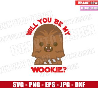 Will you be my Wookie (SVG dxf png) Star Wars Love Chewbacca Cut File Cricut Silhouette Vector Clipart - Don Vito Design Store