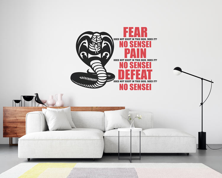 Wall Decal Example - Fear does not Exist in this Dojo (SVG dxf png) Cobra Kai Logo Karate Kid Cut File Cricut Silhouette Vector Clipart