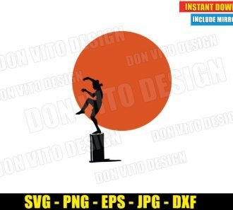The Crane Kick Beach Sunset (SVG dxf png) Daniel Larusso Karate Kid Movie Cut File Cricut Silhouette Vector Clipart - Don Vito Design Store