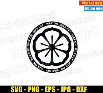 Lotus Flower Wax On Wax Off (SVG dxf png) Miyagi Do Karate Kid Dojo Logo Cut File Cricut Silhouette Vector Clipart - Don Vito Design Store