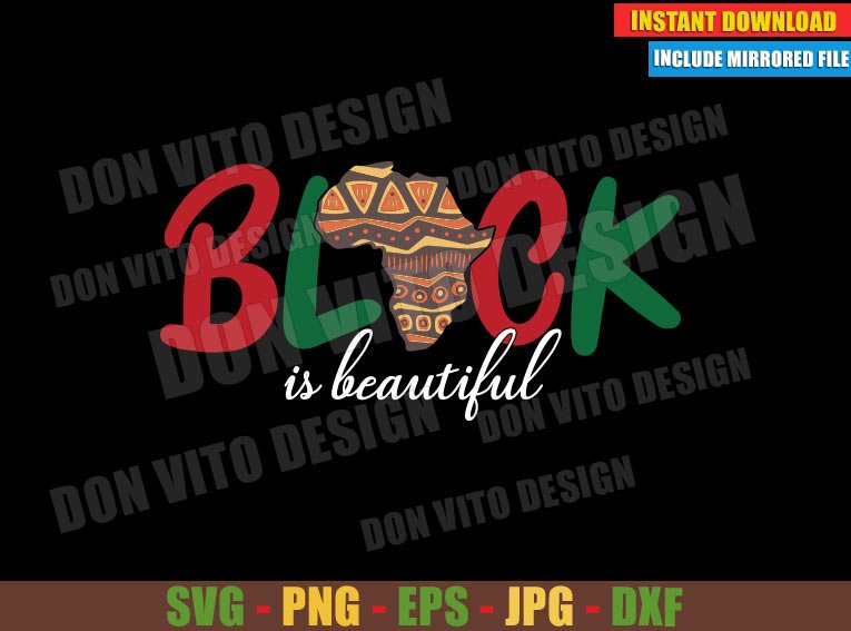 Black is Beautiful (SVG dxf png) Africa Map with Tribal Art Cut File Cricut Silhouette Vector Clipart - Don Vito Design Store
