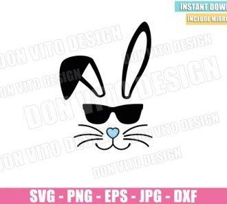 Easter Bunny Sunglasses (SVG dxf png) Boy Rabbit Ears Cut File Cricut Silhouette Vector Clipart - Don Vito Design Store