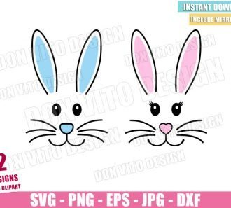 Boy Girl Bunny Ears (SVG dxf png) Easter Face Couple Cut File Cricut Silhouette Vector Clipart - Don Vito Design Store