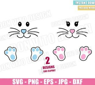 Boy Girl Bunny Paw (SVG dxf png) Easter Face Footprint Cut File Cricut Silhouette Vector Clipart - Don Vito Design Store